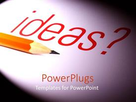 PowerPlugs: PowerPoint template with a lead pencil along with the word ideas in the background