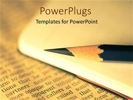 PowerPlugs: PowerPoint template with a lead pencil present in front of a newspaper with blurred background