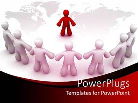 PowerPoint template displaying a leader dictating the all the team members