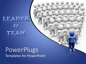 PowerPlugs: PowerPoint template with leader and team theme with white people and blue leader, business, leadership,  management