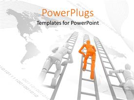 PowerPlugs: PowerPoint template with leaders with 3D characters climbing and a world map background