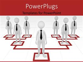 PowerPoint template displaying leadership concept depicting employee hierarchy