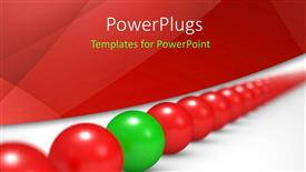 PowerPlugs: PowerPoint template with an arranged line of red colored balls with a green one in between