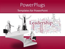 PowerPlugs: PowerPoint template with leadership concept on white background with different humanoids standing at different levels of hierarchy