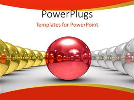 PowerPlugs: PowerPoint template with red sphere between two rows of chrome and chrome spheres