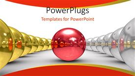 PowerPoint template displaying red sphere between two rows of chrome and chrome spheres