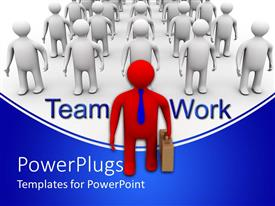 PowerPoint template displaying leadership depiction with 3D man leading team of businessmen