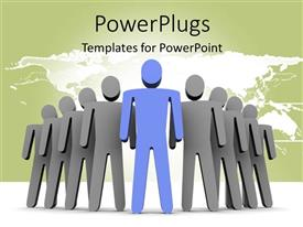 PowerPlugs: PowerPoint template with leadership depiction with blue 3D man leading grey team