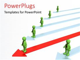 PowerPlugs: PowerPoint template with leadership depiction with distinct leader on red arrow over white background