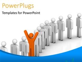 PowerPlugs: PowerPoint template with leadership depiction with distinct orange 3D man in queue