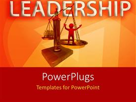 PowerPlugs: PowerPoint template with leadership depiction with gold weighing balance of leader against team members