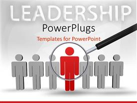 PowerPoint template displaying leadership depiction with large magnifying glass over row of people