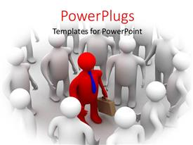 PowerPlugs: PowerPoint template with leadership depiction with red colored 3D business man surrounded by people