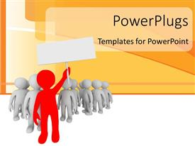 PowerPoint template displaying leadership depiction as red colored 3D man leads group