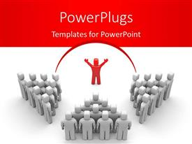 PowerPlugs: PowerPoint template with leadership depiction with red colored leader directing three teams