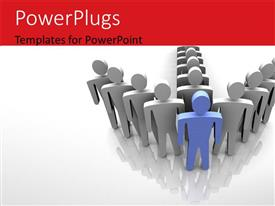 PowerPlugs: PowerPoint template with leadership depiction with team forming arrow and blue leader as arrow head