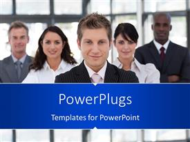 PowerPlugs: PowerPoint template with leadership depiction with young confident man leading business team