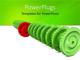 PowerPoint template displaying leadership metaphor with red gear in front of row of green gears