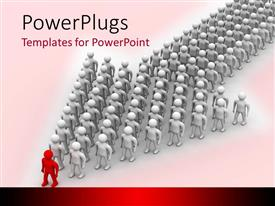 PowerPlugs: PowerPoint template with leadership metaphor with red man at front of silver men standing in arrow shape