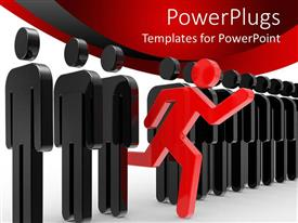 PowerPoint template displaying leadership metaphor with red person running through line of black humans