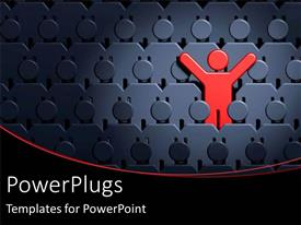 PowerPlugs: PowerPoint template with leadership standing outside of the crowd with uniqueness special