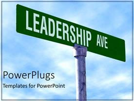PowerPlugs: PowerPoint template with leadership street as a metaphor directions decisions choices blue background