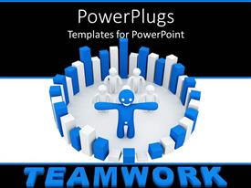 PowerPoint template displaying leadership teamwork metaphor with smiling blue and white men in circle of building blocks