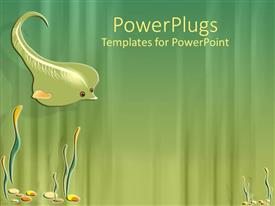 PowerPoint template displaying leaf shaped into fish swimming at sea bed