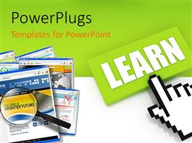 PowerPlugs: PowerPoint template with the option of learning with a greenish background