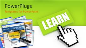 PowerPoint template displaying the option of learning with a greenish background