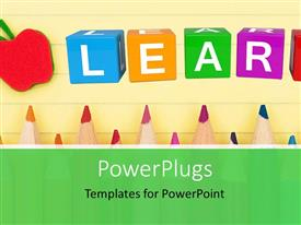 PowerPlugs: PowerPoint template with back to school depiction with colorful learn cubes and pencils