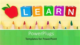 PowerPoint template displaying back to school depiction with colorful learn cubes and pencils