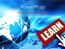 PowerPlugs: PowerPoint template with a graphical presentation of a cursor clicking on a red tag with a text that spell out the word 'learn'