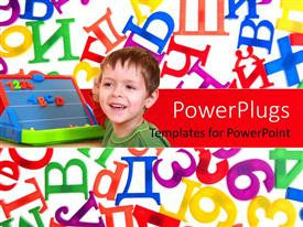 PowerPlugs: PowerPoint template with learning concepts using kids , education board and alphabets