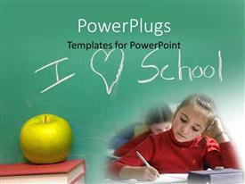 PowerPoint template displaying learning depiction with girl in classroom, green apple on book and chalkboard