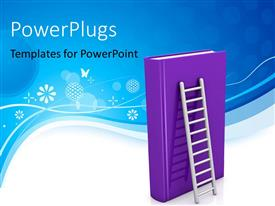 PowerPoint template displaying learning depiction with huge ladder leaning on large purple book