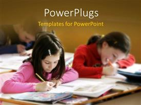 PowerPlugs: PowerPoint template with learning depiction with kids studying in classroom with books on desk