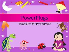 PowerPlugs: PowerPoint template with learning depiction with little kid and learning materials over purple surface