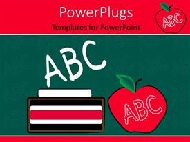 PowerPlugs: PowerPoint template with learning depiction with pile of books and letters on green chalkboard