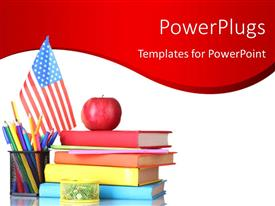 PowerPlugs: PowerPoint template with learning depiction with red apple on book pile and pencils in cup