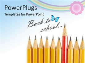 PowerPlugs: PowerPoint template with learning depiction with red sharpened pencil standing out from yellow pencils