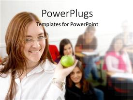 PowerPlugs: PowerPoint template with learning depiction with students in classroom and teacher holding green apple