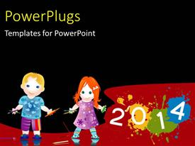 PowerPlugs: PowerPoint template with learning depiction with two little kids playing with crayons