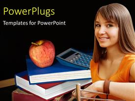 PowerPlugs: PowerPoint template with learning depiction of young student  with calculator and apple on book pile