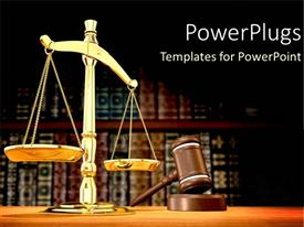 PowerPlugs: PowerPoint template with legal systems with a gold scale for justice and law as a metaphor on a brown background