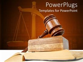 PowerPlugs: PowerPoint template with legal theme with judges gavel atop of opened justice book and scales of justice in the background