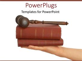 PowerPoint template displaying legal theme with judges gavel on top of two law books