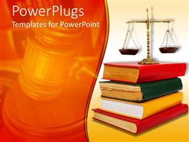 PowerPlugs: PowerPoint template with legal theme with scales of justice atop of legal books with red, yellow and green cover books