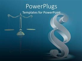 PowerPoint template displaying legal theme with scales of justice and law sign symbol on teal blue background
