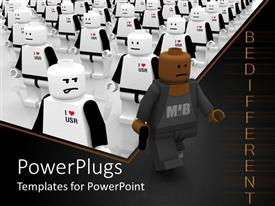 PowerPoint template displaying lego figure in black walks away from figures in white
